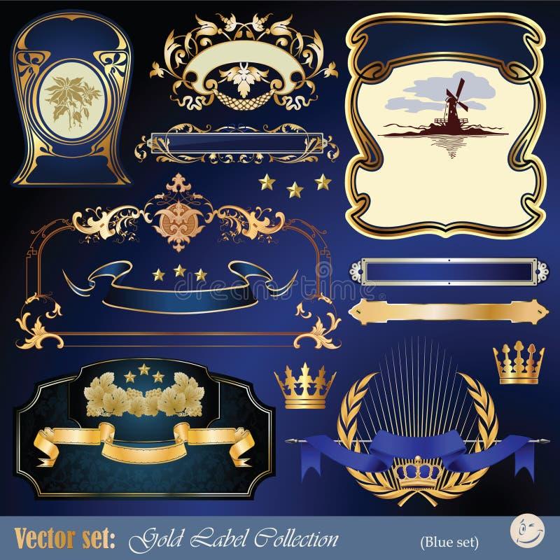 etiquetas, fita, ornamento e elementos Ouro-moldados ilustração stock