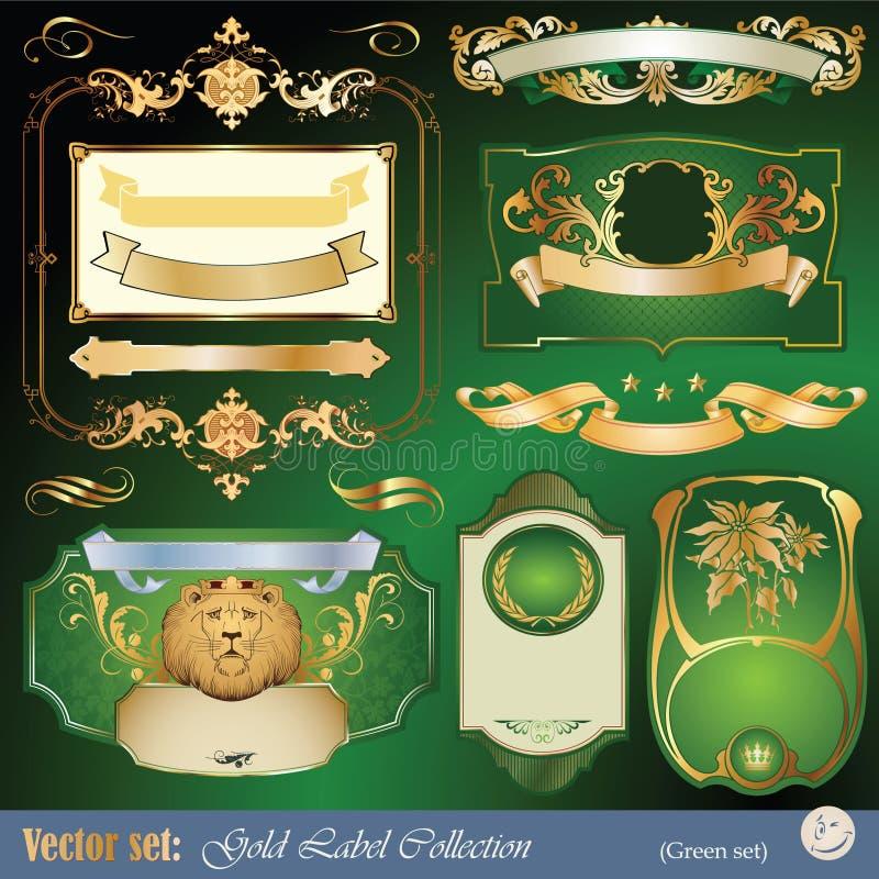 etiquetas, fita, ornamento e elementos Ouro-moldados ilustração do vetor