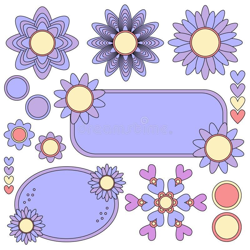 Etiquetas, flores y colección coloridas de los corazones libre illustration