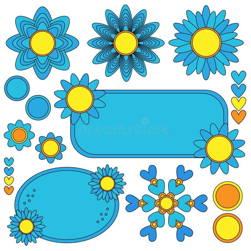 Etiquetas, flores y colección coloridas de los corazones ilustración del vector