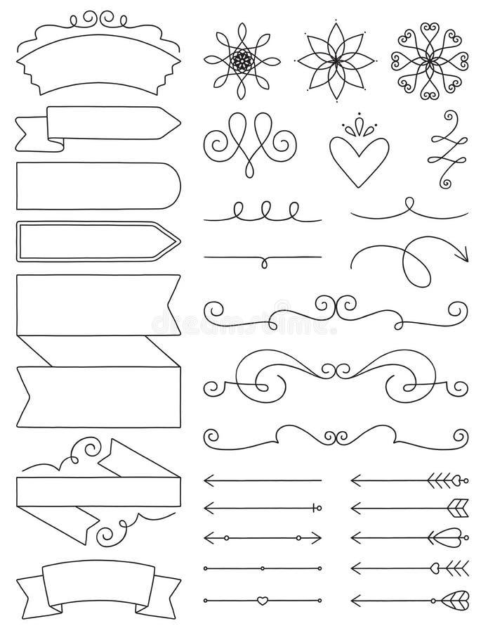 Etiquetas, Flourishes y flechas del garabato ilustración del vector