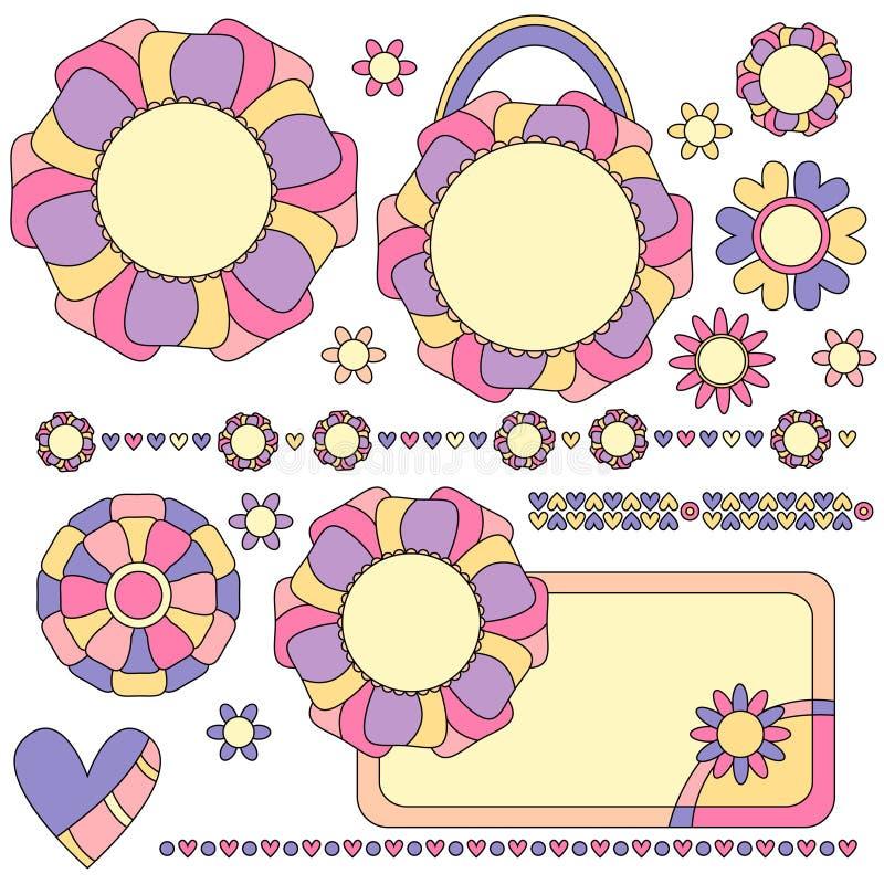 Etiquetas, guarnições e decorações coloridas com flores e corações ilustração do vetor