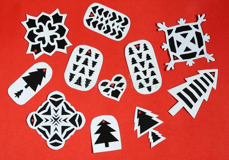 Etiquetas hechas a mano del regalo de la Navidad imagen de archivo