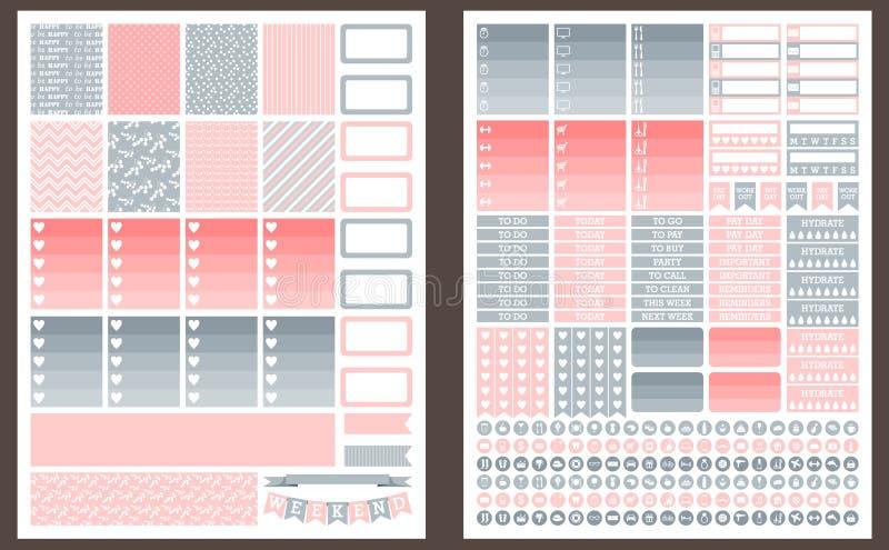 Etiquetas imprimíveis cinzentas e cor-de-rosa para o planejador ilustração do vetor