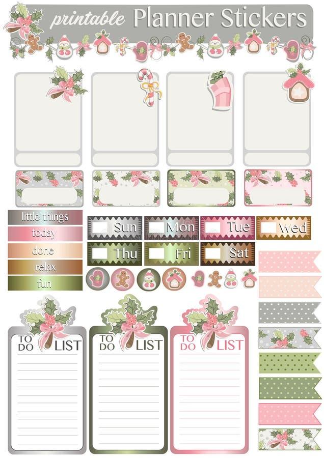 Etiquetas imprimíveis do planejador com motivos do feriado ilustração stock