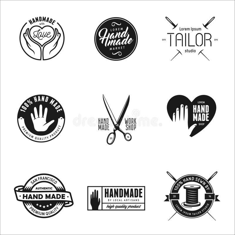 Etiquetas, insignias y elementos hechos a mano del diseño en estilo del vintage ilustración del vector