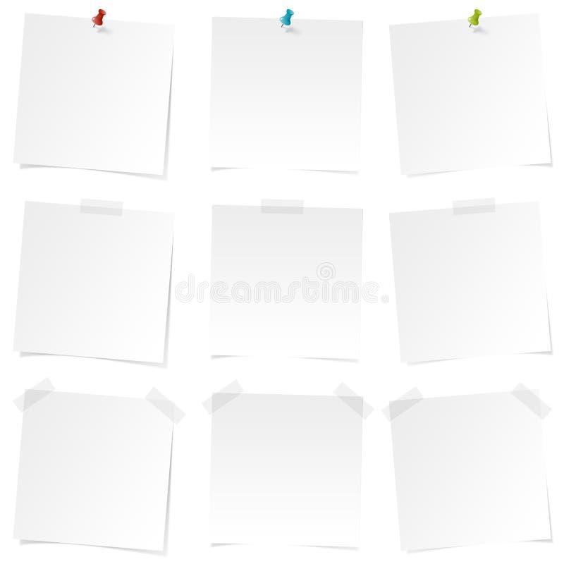 Etiquetas lisas brancas - grupo de etiquetas - notas - noteboard - lembrete - para fazer a lista ilustração do vetor