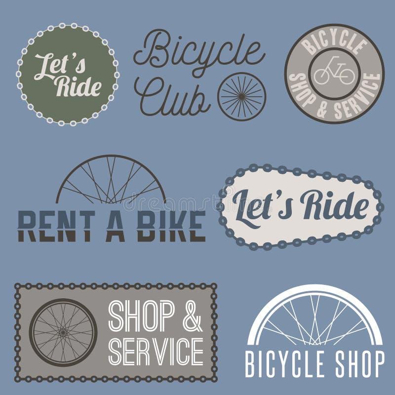 Etiquetas, logotipo, sinais, símbolos para a empresa da bicicleta ilustração royalty free