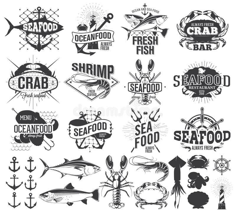 Etiquetas, logotipo y ejemplo de los mariscos ilustración del vector