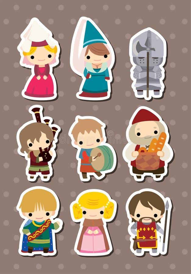 Etiquetas medievais dos povos dos desenhos animados ilustração stock