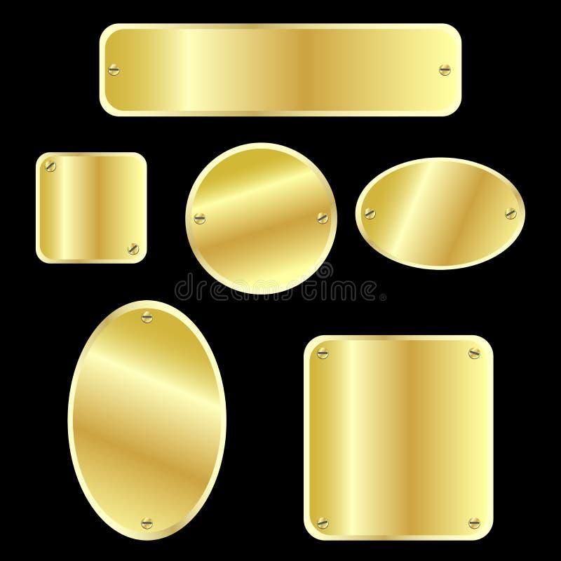 Etiquetas metálicas - de oro stock de ilustración