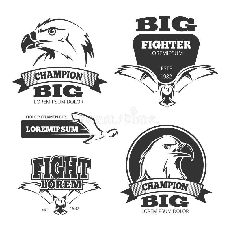 Etiquetas militares del vector de la heráldica del águila, logotipos, emblemas ilustración del vector