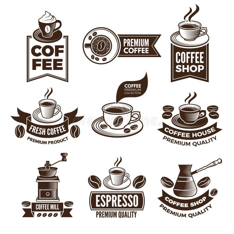 Etiquetas monocromáticas del café en estilo retro Los ejemplos del vector fijaron con el lugar para su texto libre illustration
