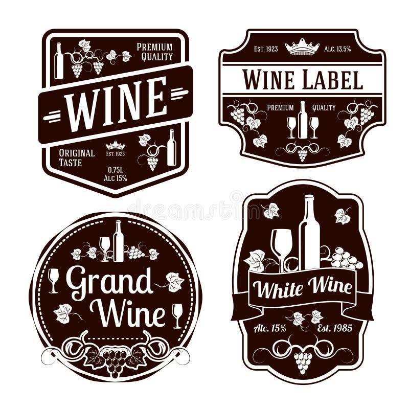 Etiquetas monocromáticas escuras do vinho de formas diferentes ilustração royalty free