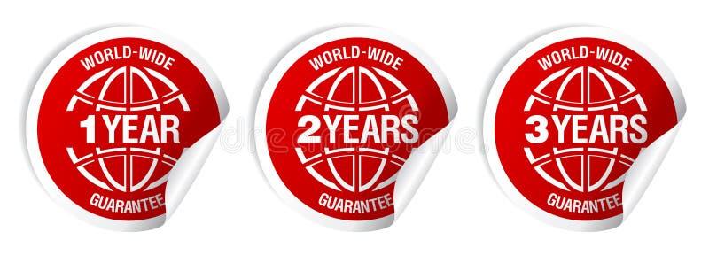 Etiquetas mundiais da garantia. ilustração stock