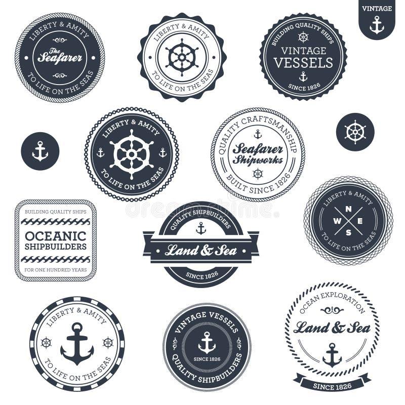 Etiquetas náuticas do vintage ilustração do vetor