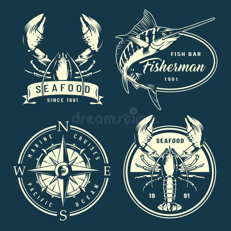 Etiquetas náuticas do vintage e marinhas monocromáticas ilustração do vetor