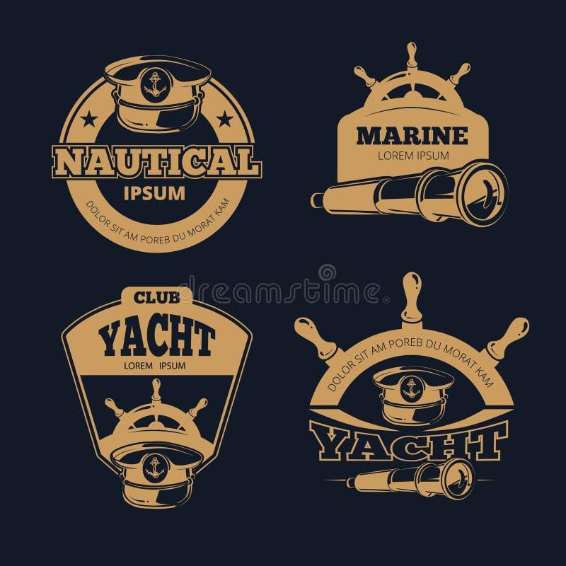 Etiquetas náuticas retros do vetor da cor no fundo escuro ilustração do vetor