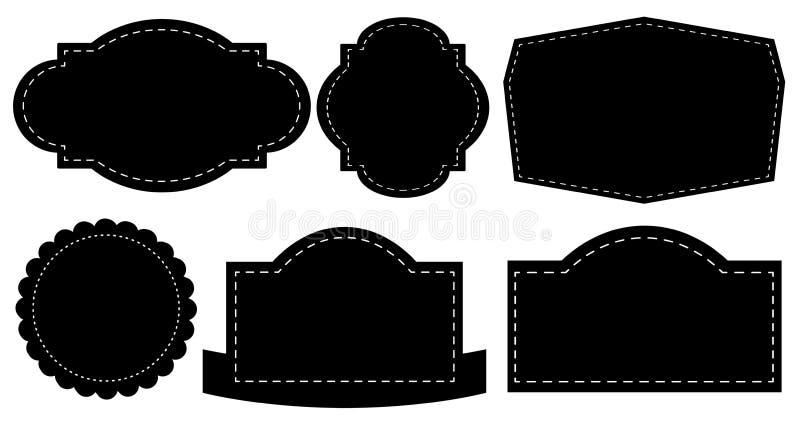 Etiquetas negras ilustración del vector