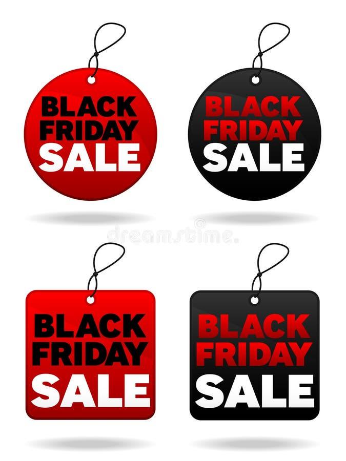 Etiquetas negras de viernes ilustración del vector