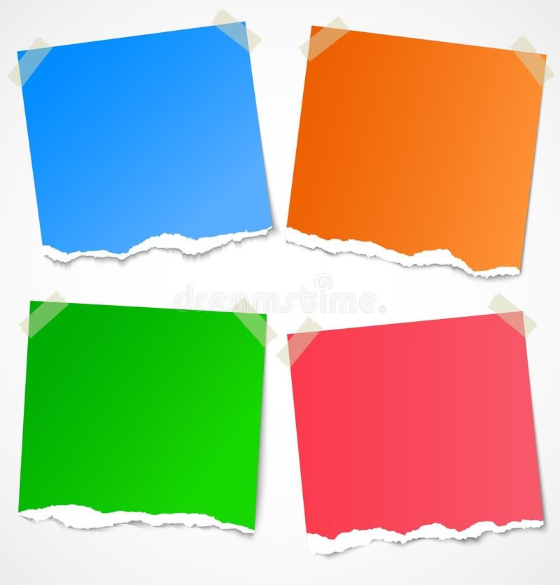 Etiquetas, notas e lembretes de papel rasgados coloridos ilustração do vetor