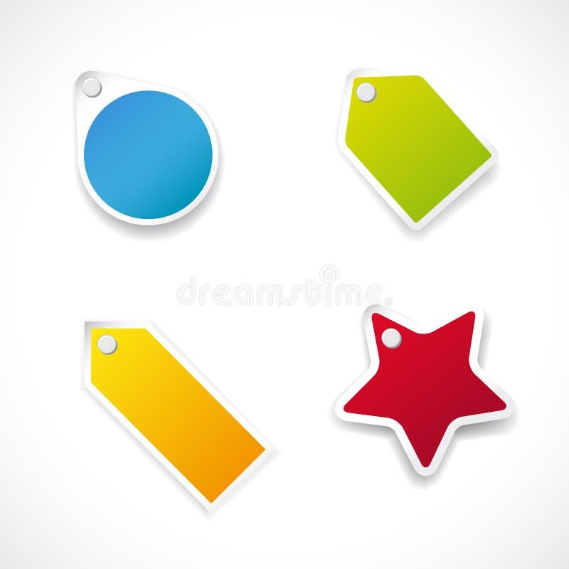 Etiquetas o escrituras de la etiqueta coloridas stock de ilustración
