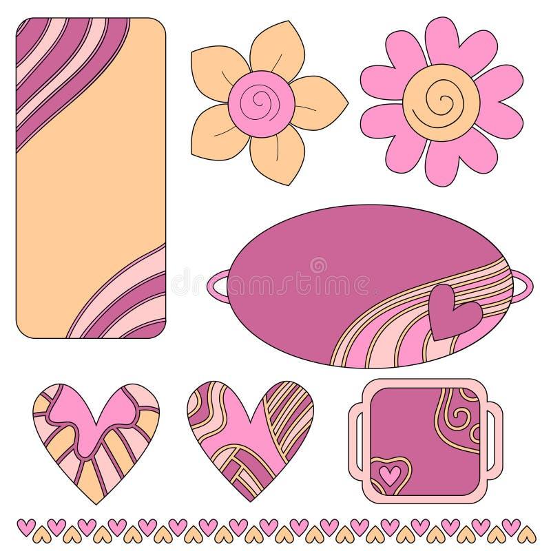Etiquetas o escrituras de la etiqueta coloridas, corazones y flores stock de ilustración