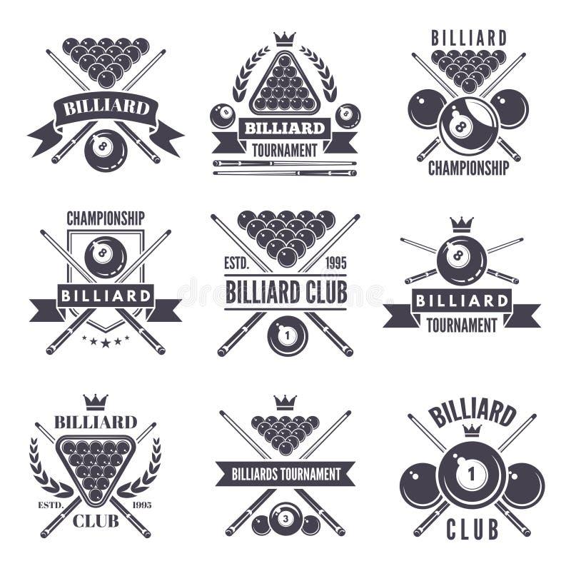 Etiquetas o logotipos monocromáticos para el club del billar Ejemplos del vector de las bolas del billar ilustración del vector