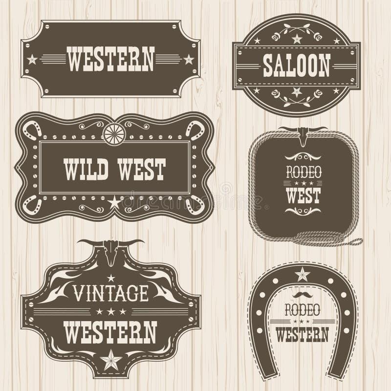 Etiquetas Occidentales Del Vintage Para El Diseño Marcos Del Vector ...