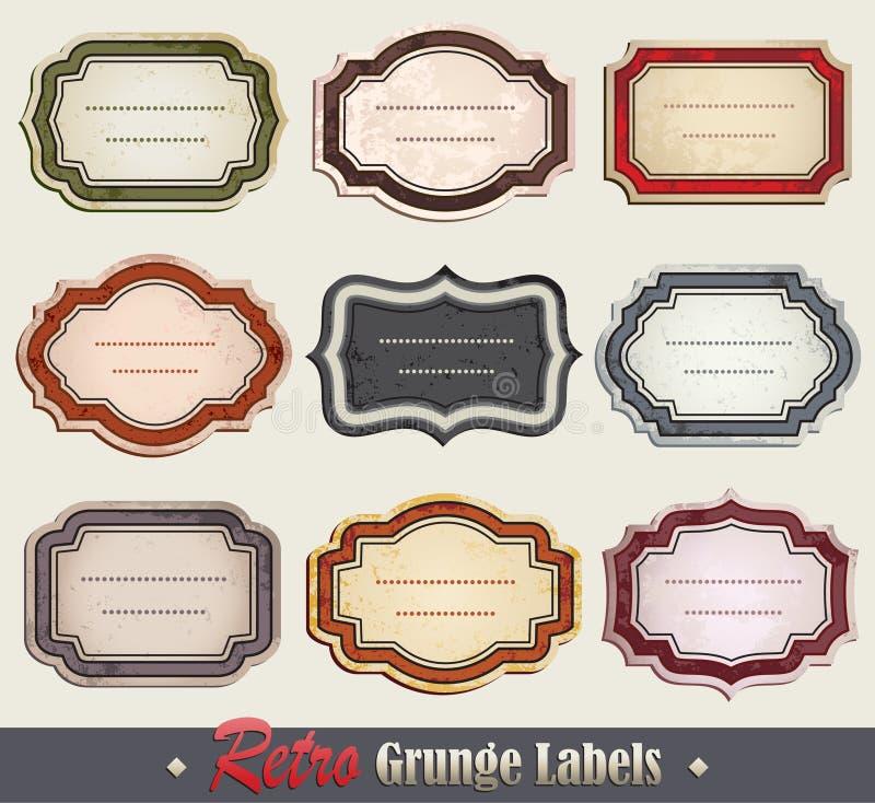 Etiquetas ornamentado de Grunge ilustração royalty free