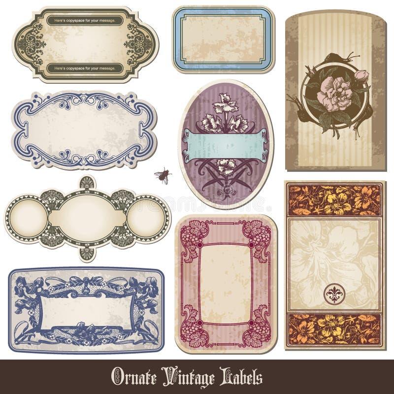 Etiquetas ornamentado do vintage