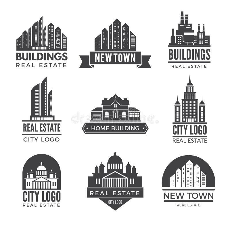 Etiquetas ou logotipos com imagens de construções modernas diferentes ilustração royalty free