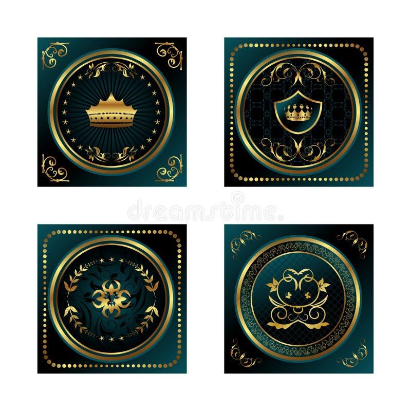 Etiquetas ouro-moldadas escuras azuis ajustadas ilustração stock