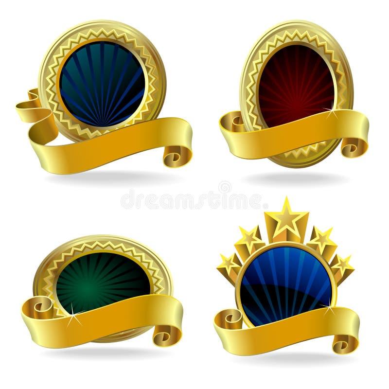Etiquetas Ouro-Moldadas superiores ilustração do vetor