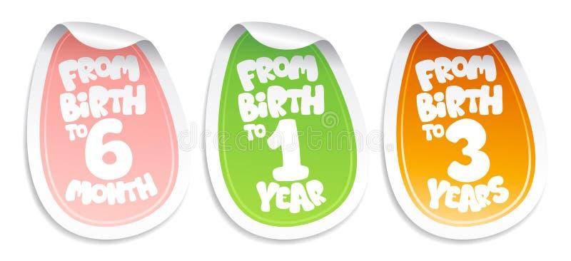 Etiquetas para bens do bebê. ilustração royalty free