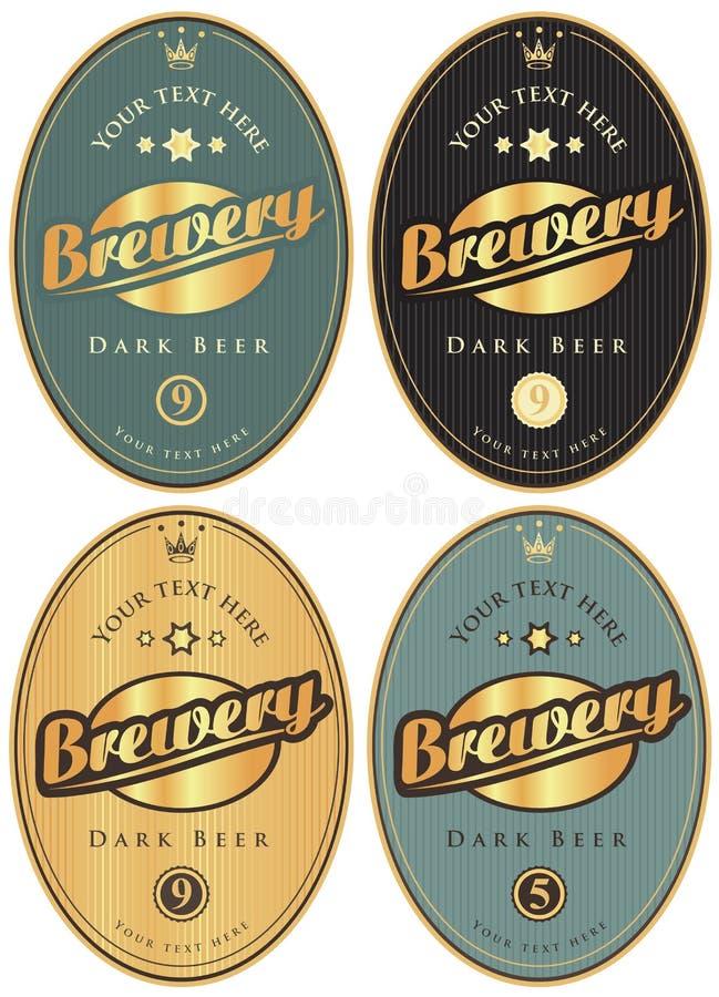 Etiquetas para a cerveja e brawary ilustração do vetor