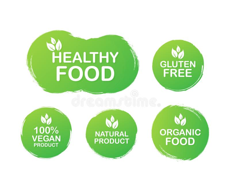 Etiquetas para la comida, nutrición Iconos de la colección Comida sana, gluten libre, comida de 100 veganos, producto natural, al ilustración del vector