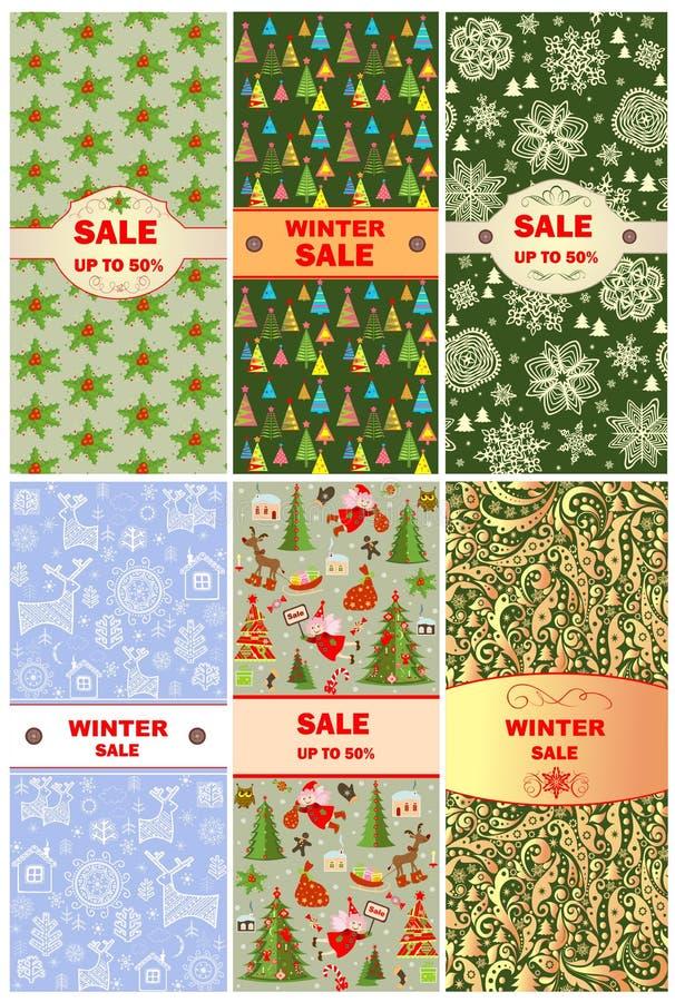 Etiquetas para la venta de la Navidad stock de ilustración