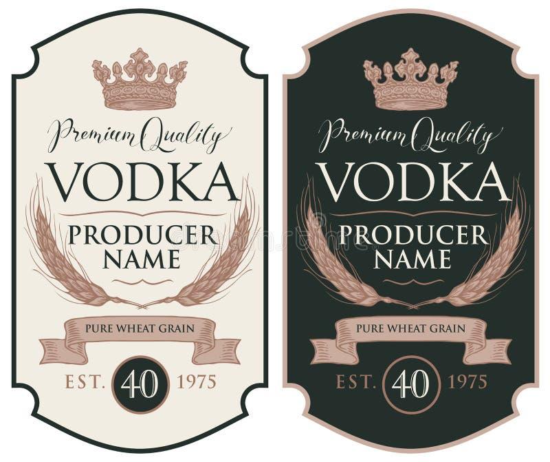 Etiquetas para la vodka con los o?dos del trigo y de la corona ilustración del vector