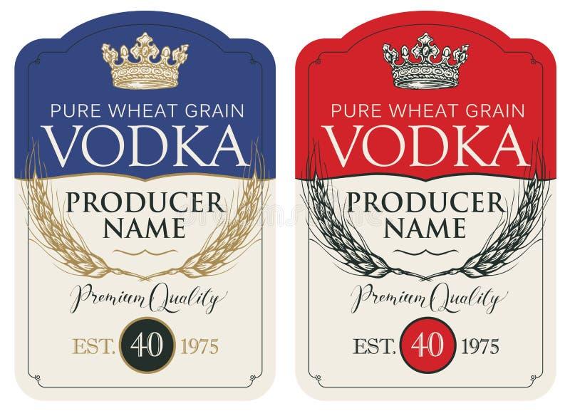 Etiquetas para la vodka con los o?dos del trigo y de la corona stock de ilustración
