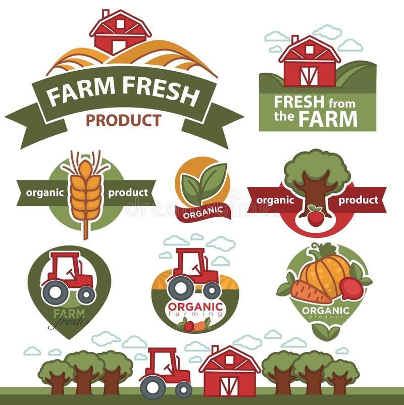 Etiquetas para los productos del mercado de la granja ilustración del vector