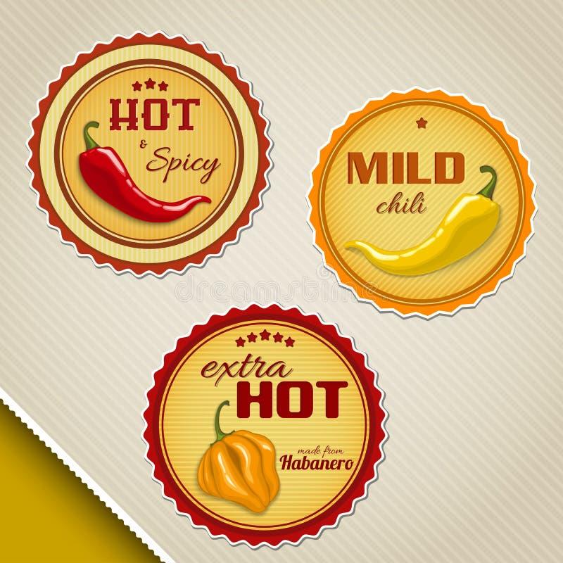 Etiquetas para molhos de pimentão ilustração stock