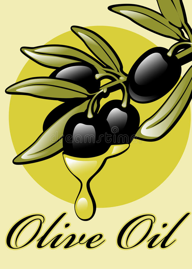 Etiquetas para o petróleo verde-oliva. ilustração stock