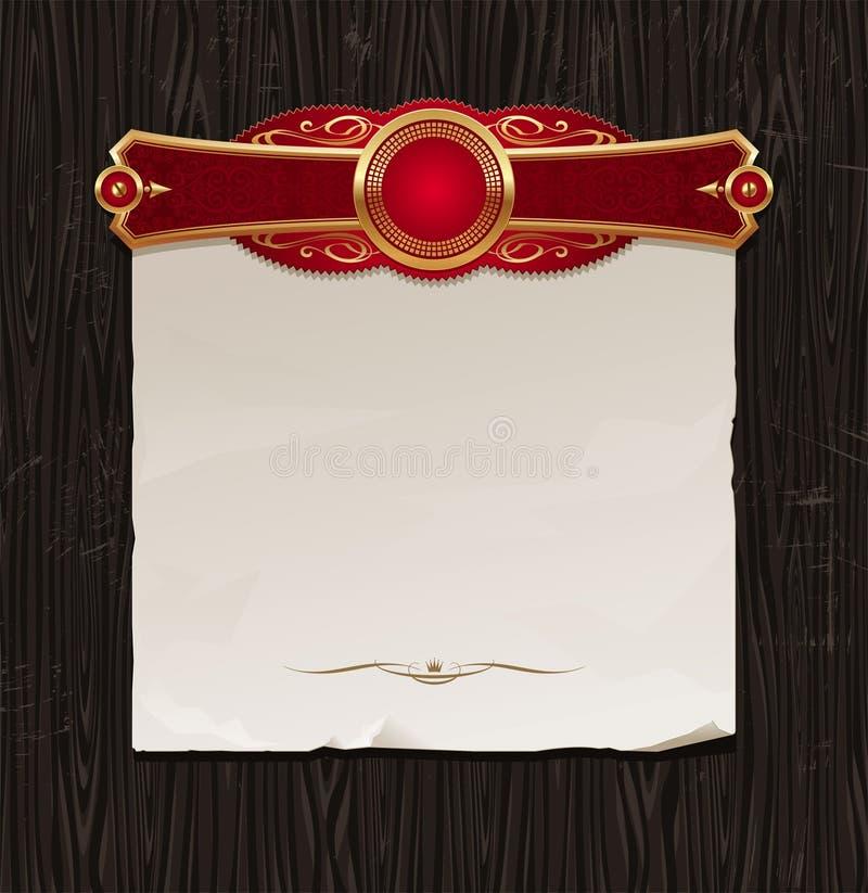 Etiquetas quadro douradas & bandeira de papel do vintage ilustração stock