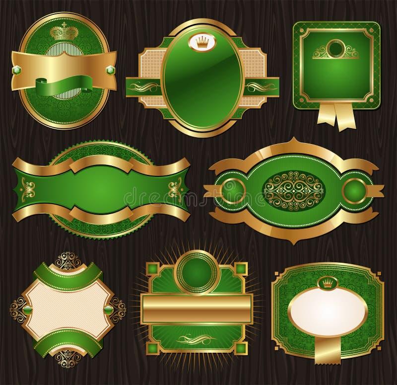Etiquetas quadro ornamentado luxuosas dourado-verdes do vintage ilustração do vetor