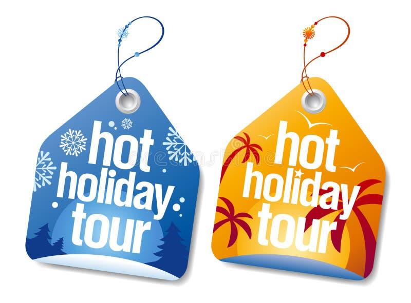 Etiquetas quentes da excursão do feriado. ilustração do vetor
