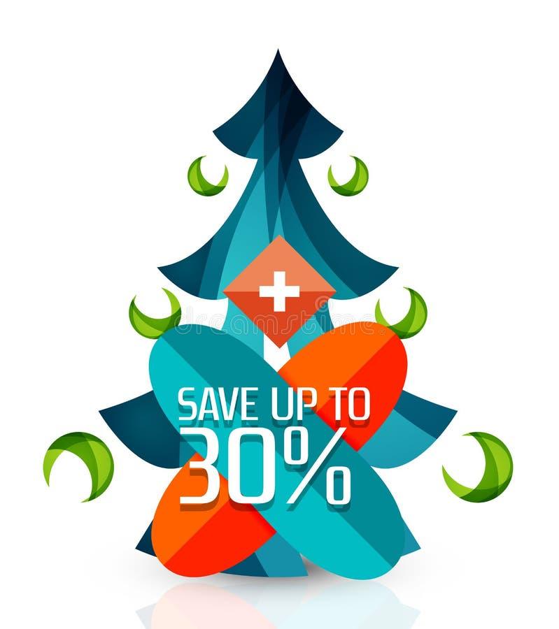 Etiquetas quentes da promoção de venda do negócio, crachás para o Natal ilustração do vetor