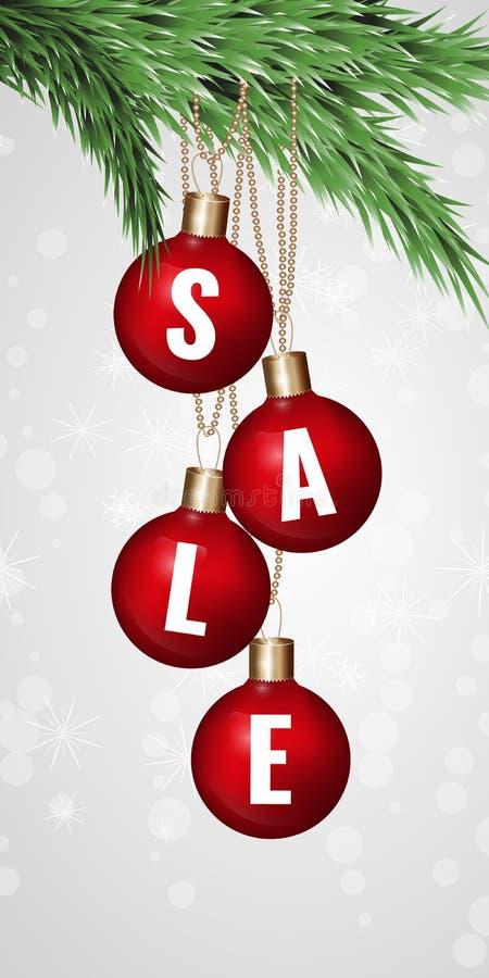 Etiquetas redondas rojas de la venta Las bolas de la Navidad sobre fondo estrellado con el abeto ramifican Ilustración del vector stock de ilustración