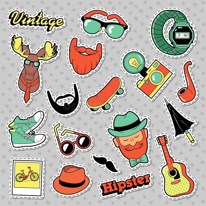 Etiquetas, remendos, crachás com barbas, bigode e cervos da forma do vintage do moderno ilustração stock