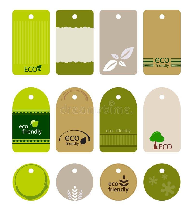 Etiquetas respetuosas del medio ambiente ilustración del vector